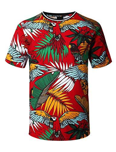 URBANCREWS Mens Hipster Hip Hop Tropical Parrot Print T-Shirt RED, S ()