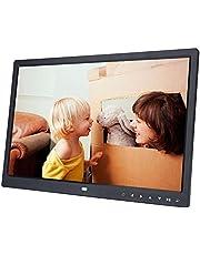 VBESTLIFE Digitale fotolijst, 15 inch, USB 2.0, 1280 x 800 HD touchscreen, digitale fotolijst met wekker/kalender, filmspeler, cadeau voor familie en vrienden, zwart