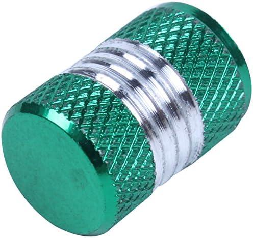 Gaoominy 4xアルミ合金カーオートバイ ホイールタイヤバルブステムキャップ 防塵カバー 緑
