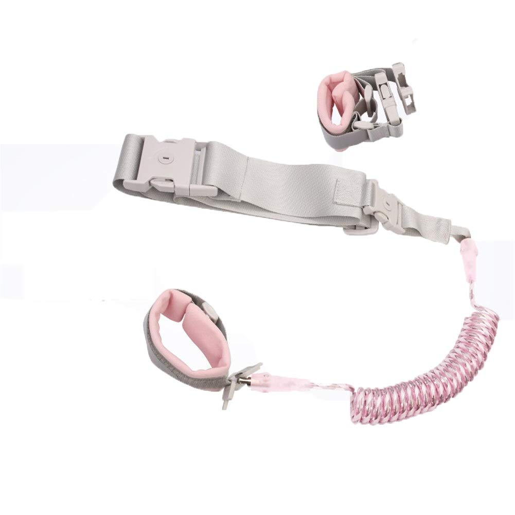 Anti Lost Safety Wrist Link Belt,Baby Harness and Reins, Toddler Walking Safety Harness Rein for Kids, Toddler Reins for Walking/Travel (Color : Pink)