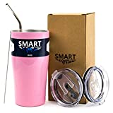 Cheap Tumbler 20 oz Pink – Smart Coolers – Ultra-Tough Double Wall Stainless Steel Premium Insulated Travel Cup – Compare to Yeti – Coffee and Ice Tea + 2 Lids + Straw + Gift Box, Pink
