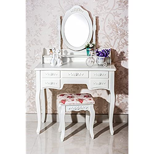 Exceptionnel Beautiful White Label Cleopatra Vintage Vanity Table (7 Drawer)