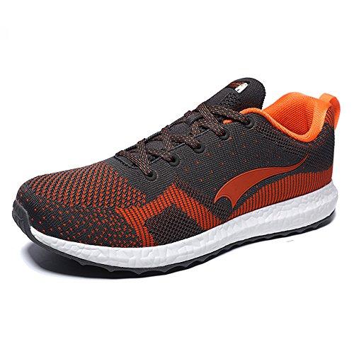 Herren atmungsaktiv Weave Laufschuhe Sport Sneaker Blau / Orange
