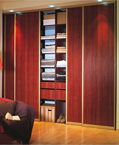 INDECO Aluminum 4 Panel Wood Grain Sliding Closet Doors