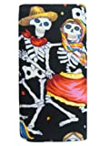 USA Handmade Fashion Wallet DANCING COUPLE PARANDA LOS MUETROS Skulls Rockabilly Pattern Bi-Fold Women's Wallet WITH A LONG ZIPPER FOR COINS Alexander Henry Cotton Fabric, WWCH 1034-4