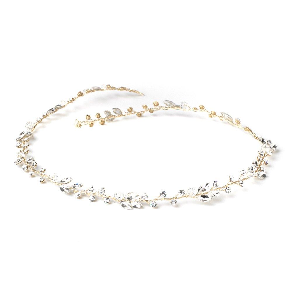 Crystal Bead, Bridal Hair Ribbon Headband, Hair Wreath, Light Gold Wedding Hair Vine, Light Gold Hair Piece, Bridal Headpiece
