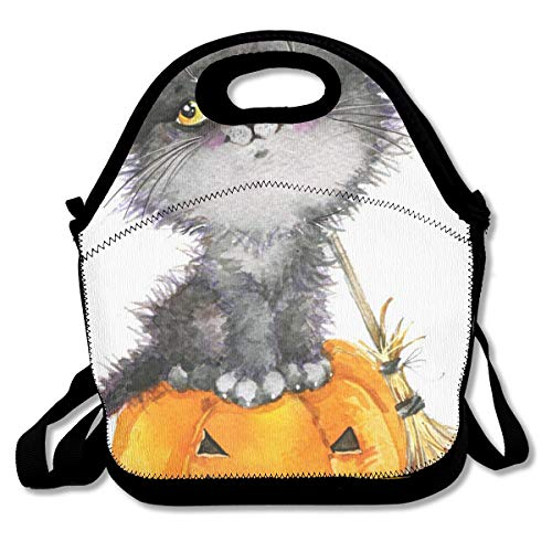 Halloween Holiday Little Cat Witch and Pumpkin Cute, Thermal,Insulation Lunch Bag - Reusable Work and School Lunch Handbags-Lunch Bags for Women, Men and -