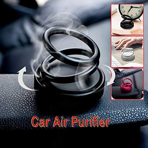 IAMCOOL 2019 Car Air Purifier Car Fragrance,High-end Double Ring Rotating Designed UFO Car Air Purifier Car Fragrance (Black, 58mmx57mm) -