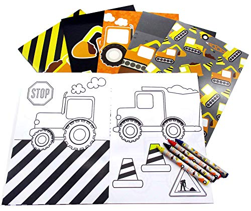 Construction Trucks Coloring Book with Crayons Party Favors, 12 -