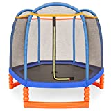 Best Choice Products 7ft Kids Outdoor Round Mini Trampoline w/Enclosure Safety Net Pad, Built-in Zipper - Multicolor