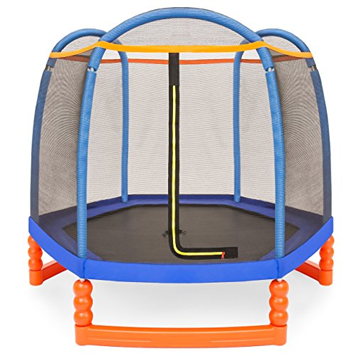 - Best Choice Products 7ft Kids Round Mini Trampoline for Indoor & Outdoor Use w/Safety Net Enclosure, Padding, Built-in Zipper, Heavy-Duty Metal Frame - Multicolor