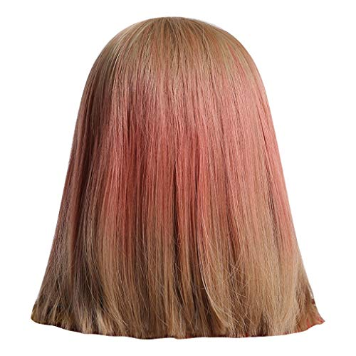 XIANAER Wig Ms. Chemical Fiber Glowing and Thin Twilight Two-tone Gradient Natural Fashion BOBO Head Wig ()