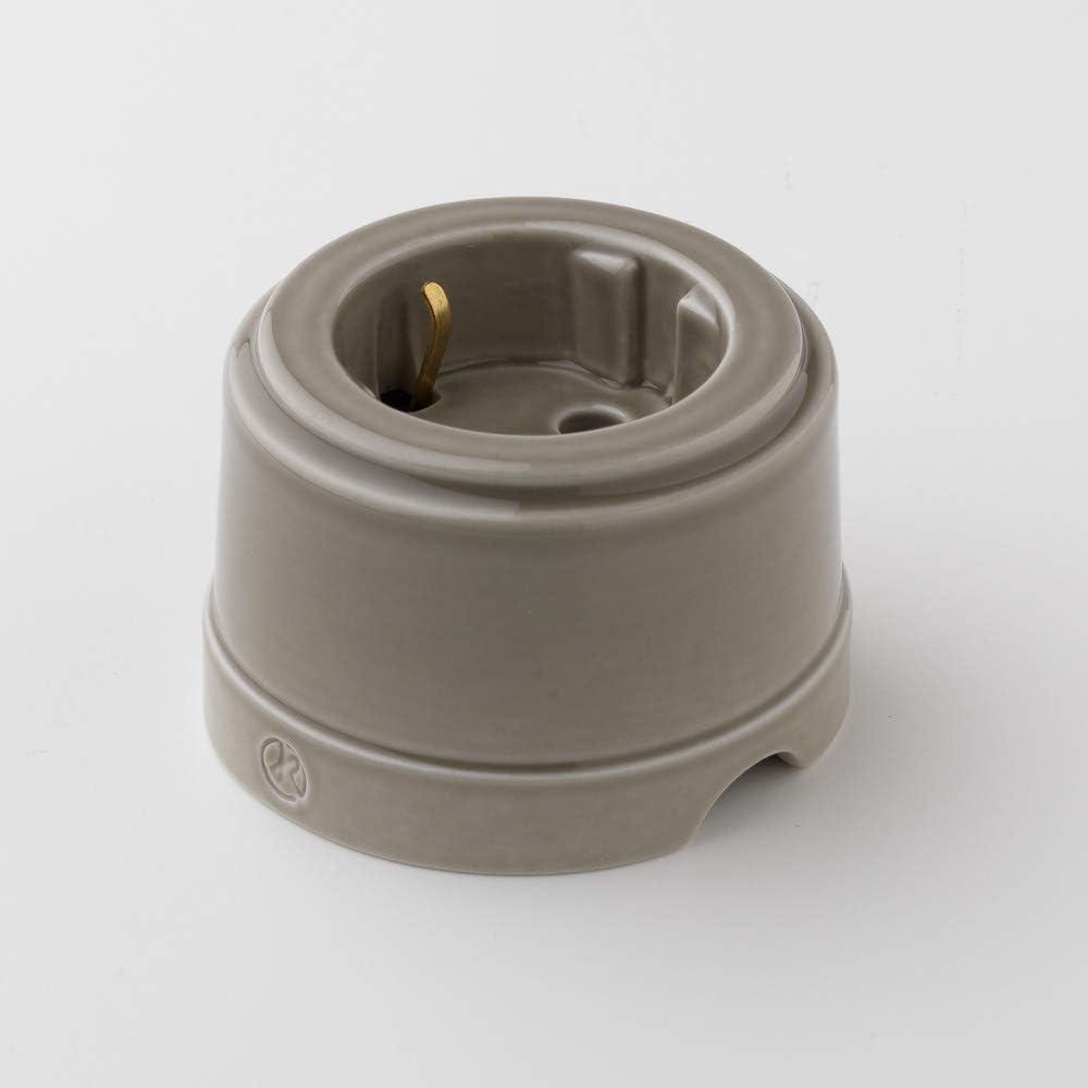 Toma de corriente con cable textil color gris porcelana fina, acabado brillante Klartext Unel BELLE EPOQUE