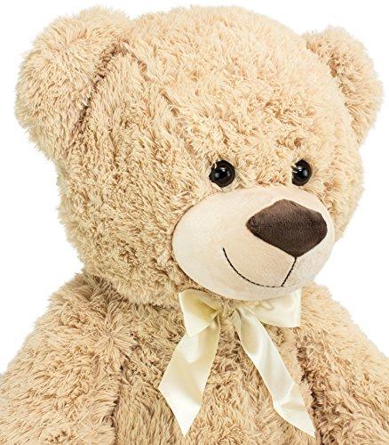 BRUBAKER orsacchiotto di peluche di grandi dimensioni in color beige - altezza 100 cm con un cuore in peluche che reca in grande la scritta 'Love'