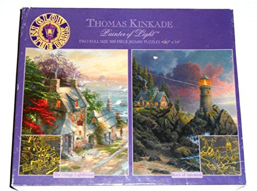 - Thomas Kinkade Painter of Light The Village Lighthouse/Rock of Salvation 500 Piece Full Size Jigsaw Puzzle 2 Pack - Glow in the Dark