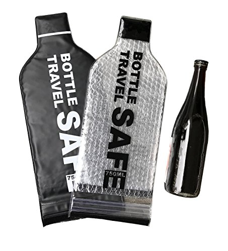 Wine Bottle Holder Travel Bag - 2 Pack Best for Air Travel - Reusable, Leak-Proof Carrier Tote - Soft Liquor Protector Sleeve Set - Portable Airline Drink Cover Case - Triple Air-Tight Seal Protection (2 Airlines)