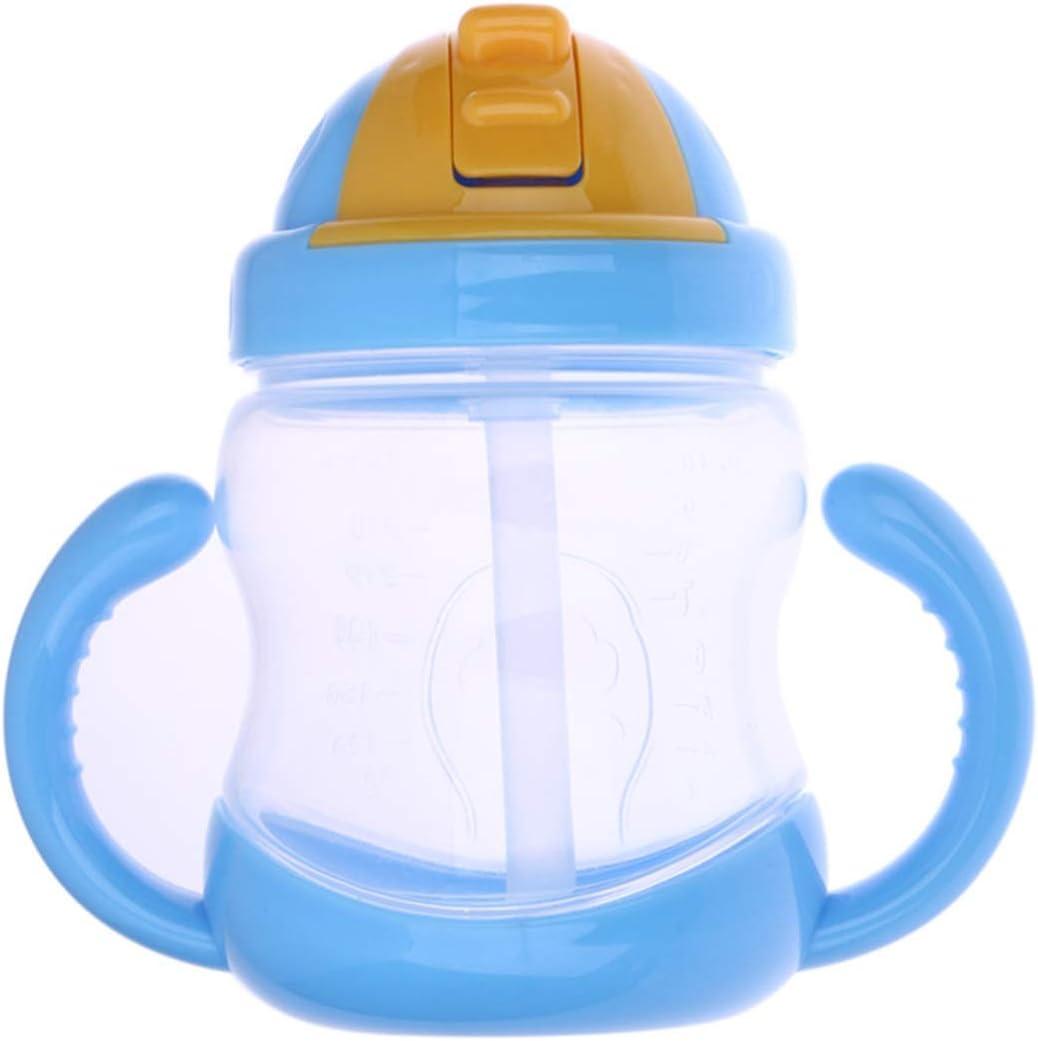 Color : Bleu HaiQianXin B/éb/é Tasse Enfants Apprendre /à Boire leau Potable Paille Bouteille Sippy Formation Tasse b/éb/é Tasse dalimentation avec poign/ée