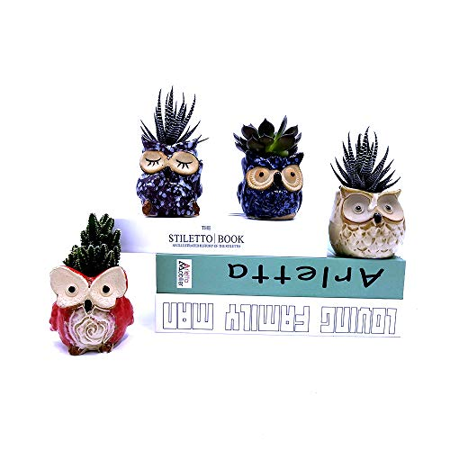 Ceramic Owl Succulent Pot Cute Animal Plant Planters Flowing Glaze Home and Office Decoration Desktop Windowsill Gift for Gardener Birthday 6pcs