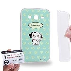 Case88 [Samsung Galaxy Core Prime G360] Gel TPU Carcasa/Funda & Tarjeta de garantía - Art Hand Drawing Dalmatian Cartoon Puppy 1239