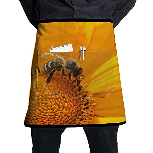 ZhiqianDF Bee Nectar Collecting Nectar Yellow Pollen Flowers Flowering Insect Close-up Funny Kitchen Black One Size Apron With - Seattle Nectars
