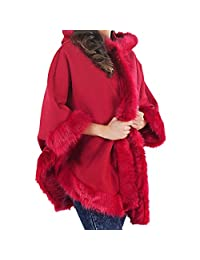 MIXLOT Ladies Faux Fur Trim Hooded Poncho Cape Women Wrap Shawl Cardigan Warm Coat