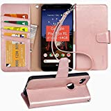 Pixel 3A XL Case, Arae PU Leather Wallet case for Google Pixel 3A XL with Wrist Strap and ID&Credit Cards Pocket - Rosegold