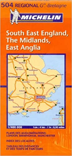 South East England Midlands,East Anglia 504 Carte r/ég.