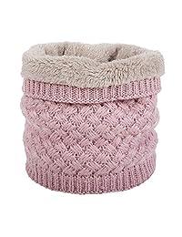 FWAJuYa Neck Warmer Double-Layer Fleece Lining Knit Thermal Windproof Scarves