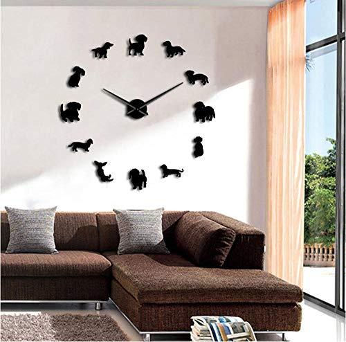 Giants Art Glass Clock - DIY Dachshund Wall Art Wiener-Dog Puppy Dog Pet Frameless Giant Wall Clock with Mirror Effect Sausage Dog Large Clock Wall Watch(37inch)