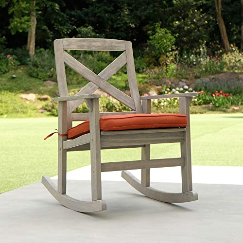 Cambridge-Casual Solid Wood West Lake Rocking Chair, with Brick Red Cushion