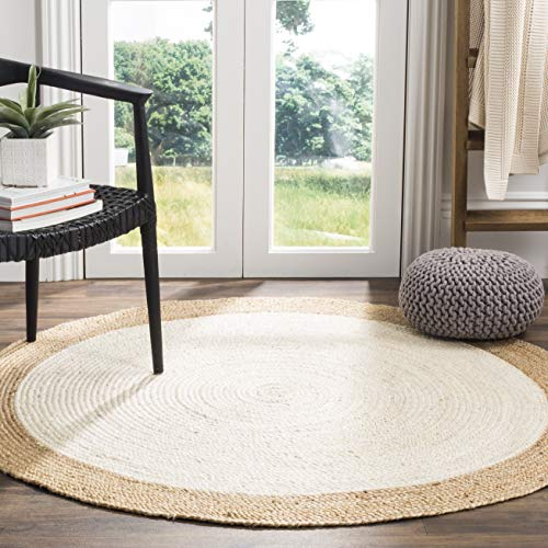 Safavieh Natural Fiber Collection NF801M Hand-Woven Ivory and Natural Jute Round Area Rug (3' in Diameter)