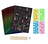 Scratch Sketch Art Paper for Kids, 50pcs Rainbow Scratch Art Paper|Boards|Pads 10.2' x 7.5' Scratchboard Kids Travel Activity Kit, with 5 Wooden Styluses & 4 Stencils & 1 Pencil Sharpener