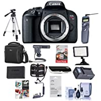 Canon EOS Rebel T7i DSLR Camera Body - Bundle With Camera Case, 64GB SDXC Card, Spare Battery, Tripod, Remote Shutter Trigger, Video Light, ShotGun Mic, Memory Wallet, Software Package, And More