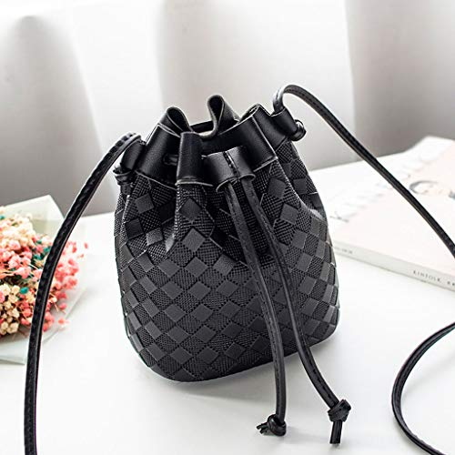 RQWEIN Leather Drawstring Bucket Bag, Women Bucket Handbags Designer Drawstring Crossbody Purse Shoulder Hobo Bag