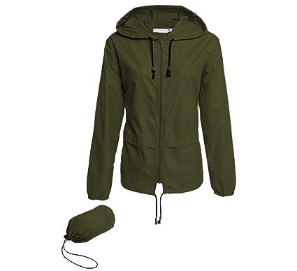 472d2d2f2 Hount Women's Lightweight Hooded Raincoat Waterproof Packable Active  Outdoor Rain Jacket (Army Green, ...