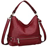 Heshe Leather Shoulder Handbags Hobo Casual Tote Style Bags Satchel Purses and Handbag for Women (Wine)