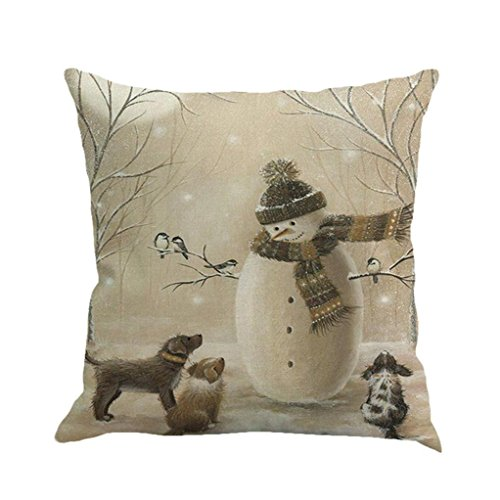 Xmas Throw Pillow Covers, Keepfit Merry Christmas Home Decor Pillow Case Holiday Season Decorations for Couch, Chair, Sofa, Assorted Designs (Snowmen)
