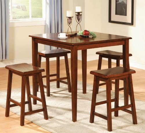 5pc Counter Height Dining Table and Stools Pub Set Dark Walnut Finish