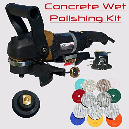 Stadea SWP104K Wet Concrete Polisher Grinder Kit with Concrete Diamond Polishing Pads - Wet Polisher Variable Speed for Wet Dry Polishing