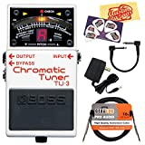 Boss TU-3 Chromatic Tuner Guitar Effects Pedal Bundle with 9V Power Adapter, Gearlux Instrument Cable, Patch Cable, Picks, and Polishing Cloth