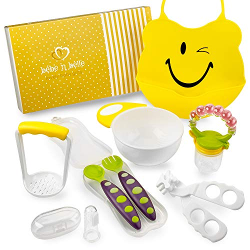 Baby Feeding Set 8PC Includes: Silicone Bib, Masher and Bowl, Spoon and Fork Set, Fruit Feeder with Rattle, Finger Toothbrush and Food Scissors by Bebe N ()