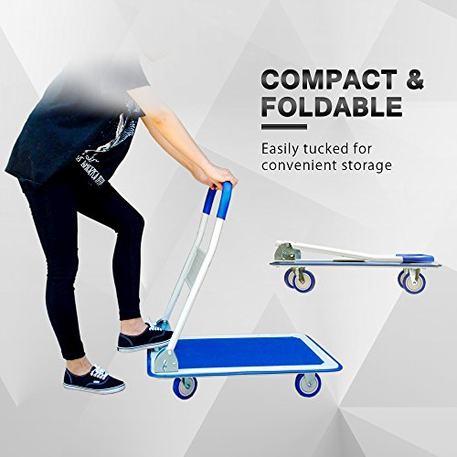 Push Cart Dolly by Wellmax | Functional Moving Platform + Hand Truck | Foldable for Easy Storage + 360-degree Swivel Wheels + 330lb Weight Capacity | Blue Colour by Wellmax (Image #7)
