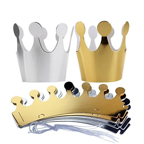 ROSENICE Birthday Crown Paper Hat Princess Party Princess Party Favors for Kids, 10pcs]()