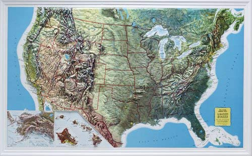 Map 21 Raised Relief - U.S. Relief Map, 34? X 21?, Rand