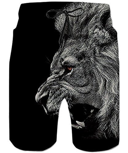 TUONROAD Youth Swimming Trunks Retro Vintage Swim Shorts Grey Hairy Red Eyes Cool Board Shorts Adjustable Surf Shorts with Pocket -