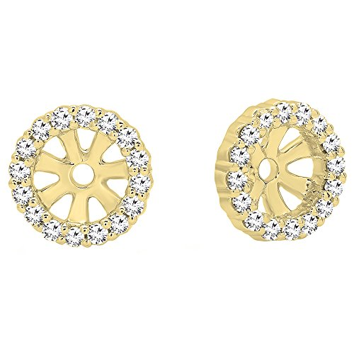 0.16 Carat (ctw) Round Diamond Ladies Halo Removable Jackets for Stud earrings, 14K Yellow Gold 14k Gold Diamond Earring Jackets