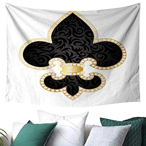Fleur De Lis Home Decor Tapestry Royal Legend Lily Throne France Empire Family Insignia of Knights Image Multicolor Home Decorations 91W x 60L Inch Black Gold ()
