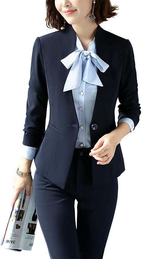 Lisueyne Blazer Para Mujer Dos Piezas Un Solo Boton Para Oficina Chamarra Formal De Negocios Y Pantalones Marino Xs Amazon Com Mx Ropa Zapatos Y Accesorios