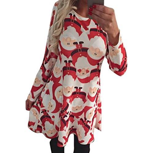 Cheap Fensajomon Womens Fashion Long Sleeve Christmas Santa Claus Print Dress free shipping