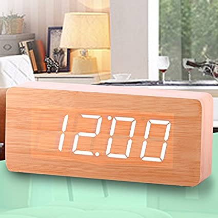 Cunclock Fábrica de relojes despertadores de madera Madera Termómetro LED Relojes de mesa con sonidos grandes